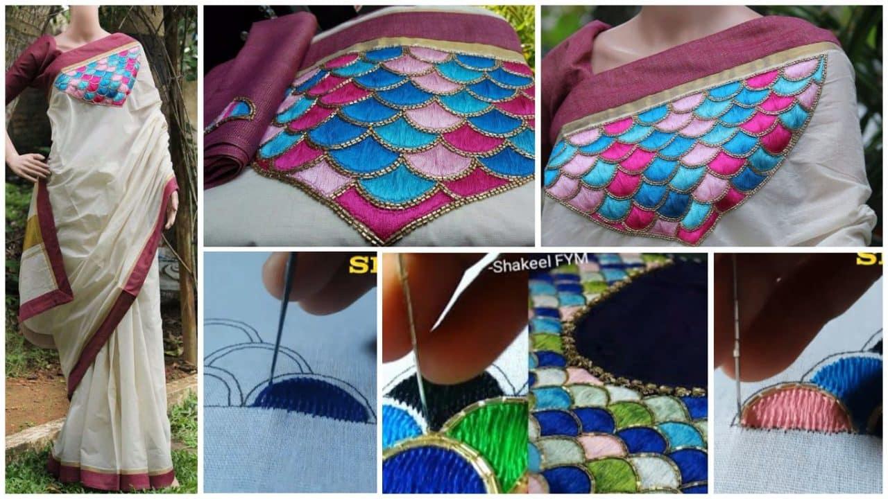 Hand Embroidery Saree Design Tutorial Simple Craft Ideas