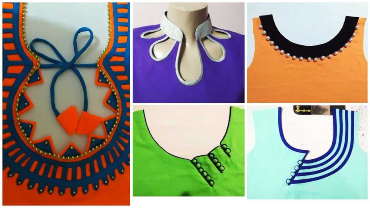 Kurta neck designs cutting and stitching