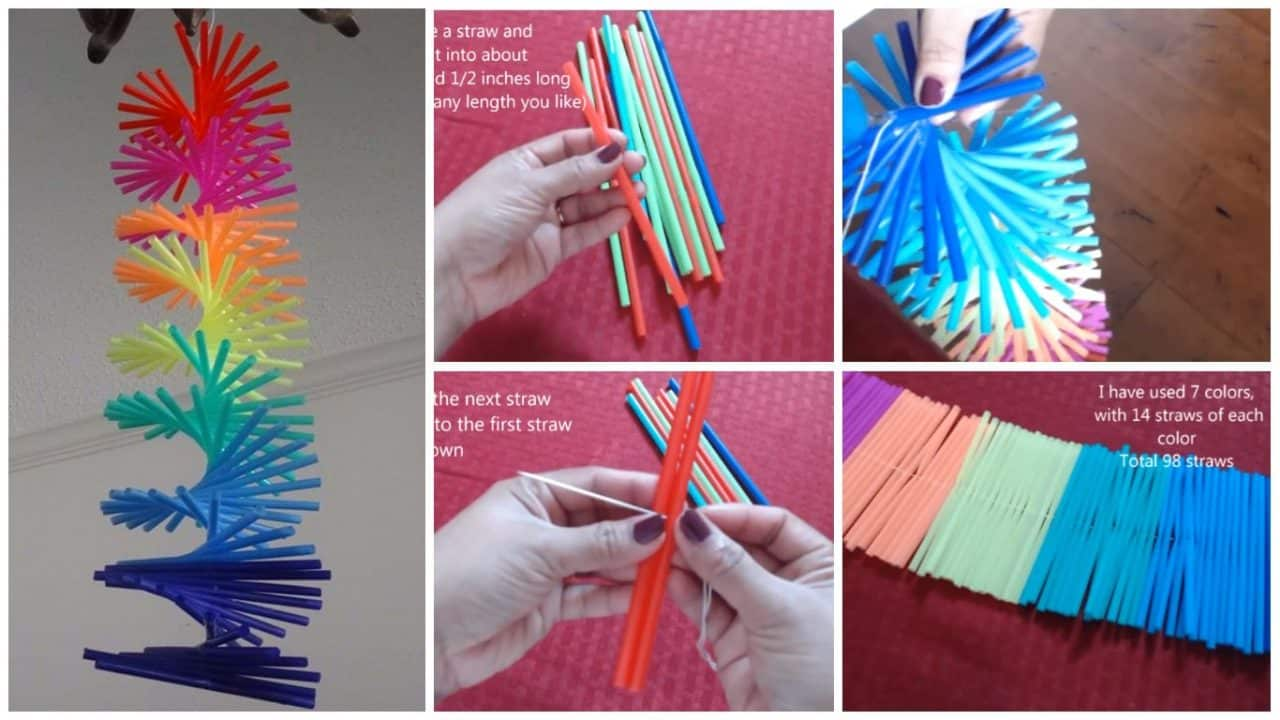 How to make drinking straw spiral hanging