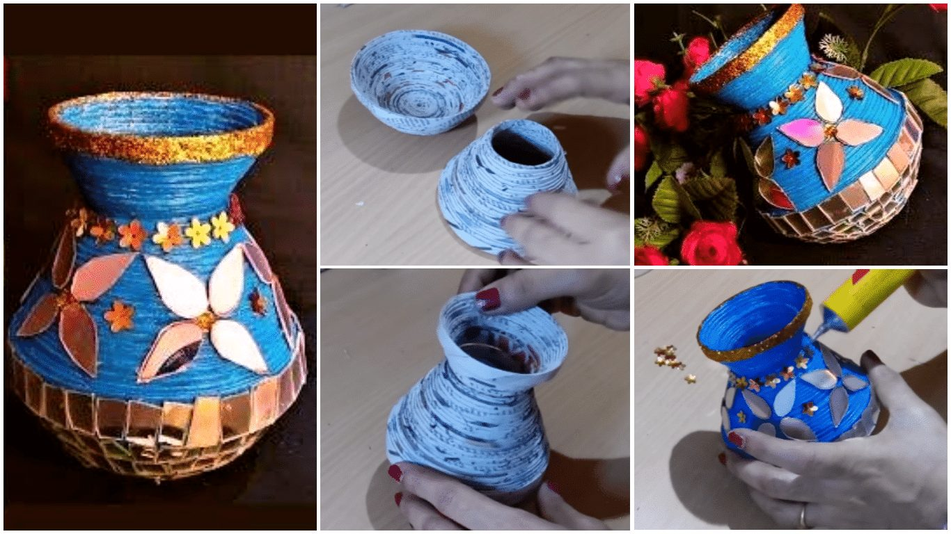 How to make a vase from newspaper and old CD