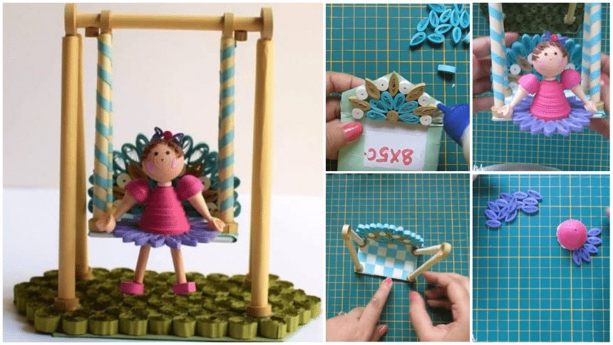How to make paper swing with quilling doll