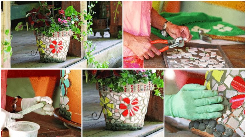 How to decorate Fflower pots with mosaic tiles