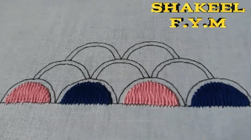 Hand embroidery saree design tutorial