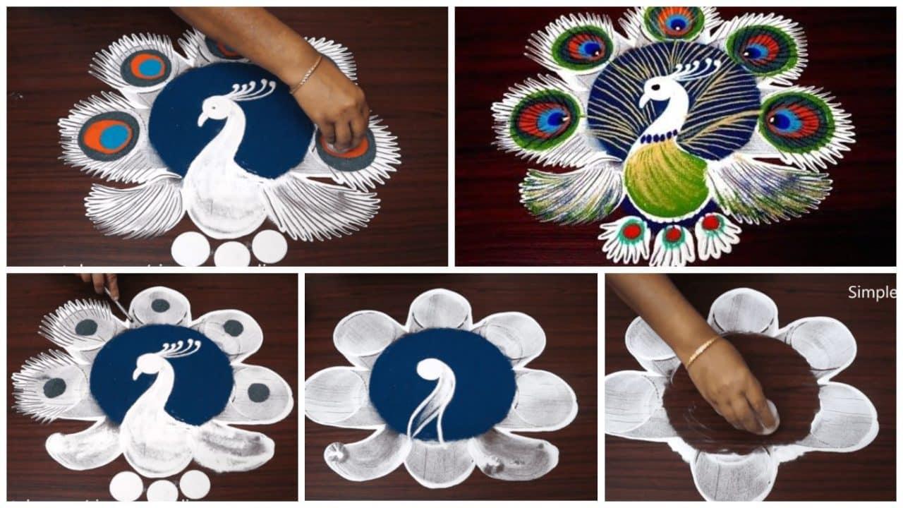 Latest and simple peacock rangoli