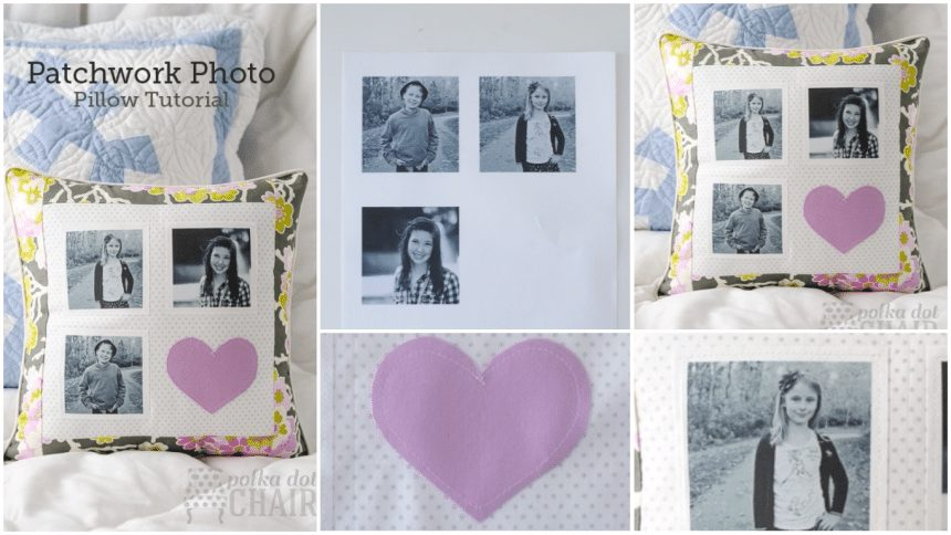 Patchwork photo pillow tutorial