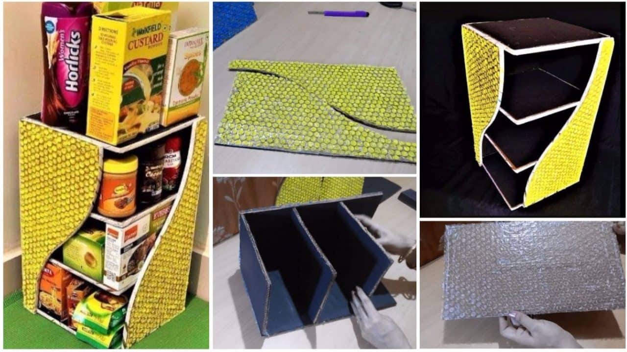 How to make kitchen rack from bubble wrap and  cardboard