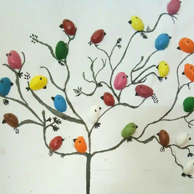 Pista shell bird for wall decoration - Simple Craft Ideas