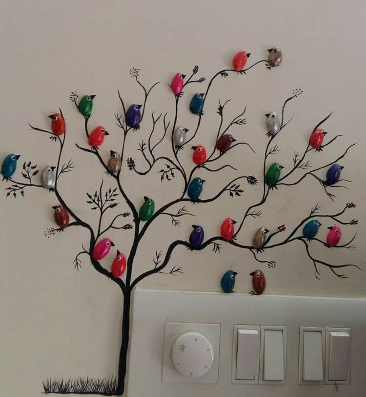 craft ideas with pista shells pista shell bird for wall decoration simple craft ideas 6340