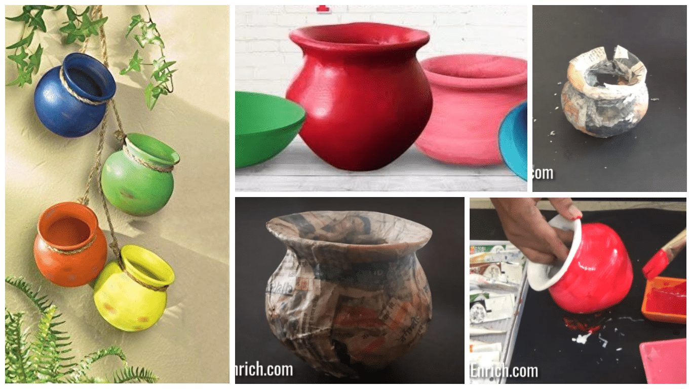 How to make realistic paper pot for wall hanging