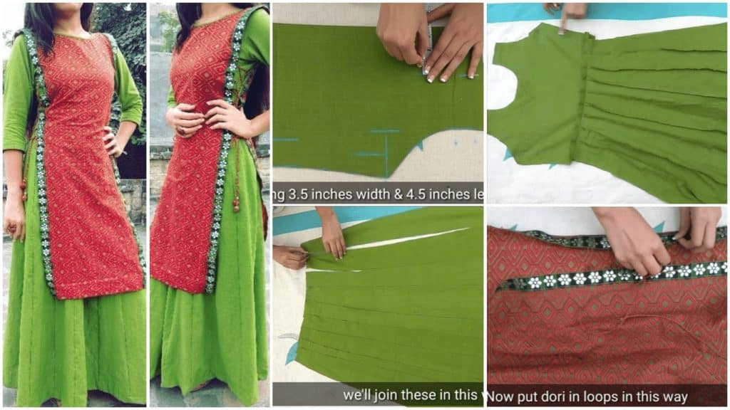 Double layer kurta cutting and stitching