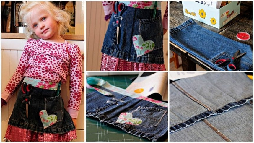 Create a craft apron from old jeans