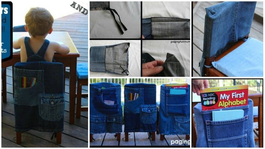How to sew kids chair covers from old jeans