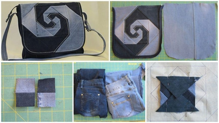 How to sew a denim bag with a valve decorated with a patchwork block