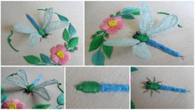 How to sew stumpwork dragonfly