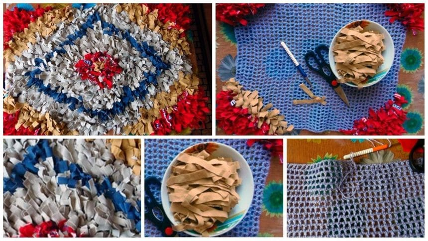 How to make shaggy rug of old t-shirts on a knitted mesh