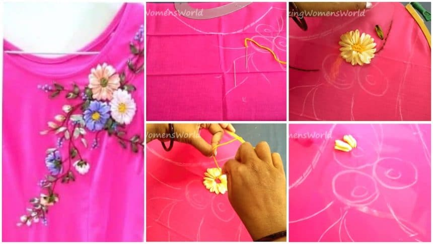 Satin ribbon flower designing on kurta