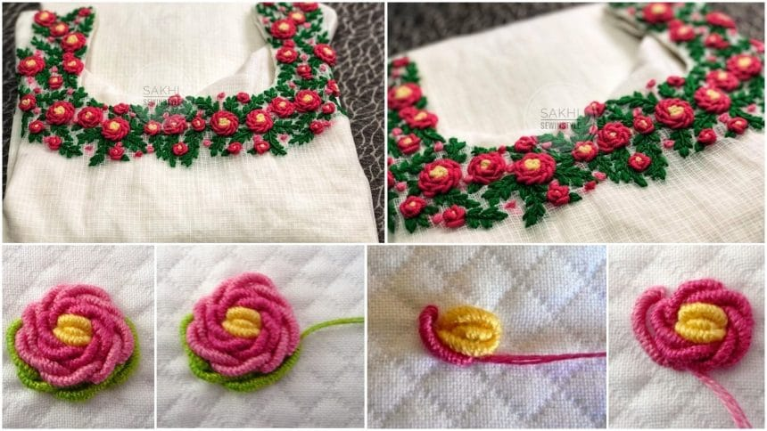 How to do bullion rose embroidery for kurti neck