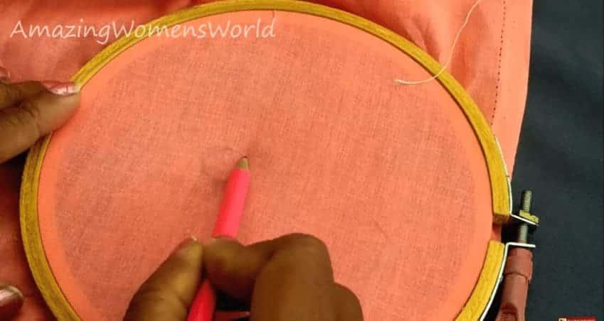 Satin ribbon rose designing on kurti
