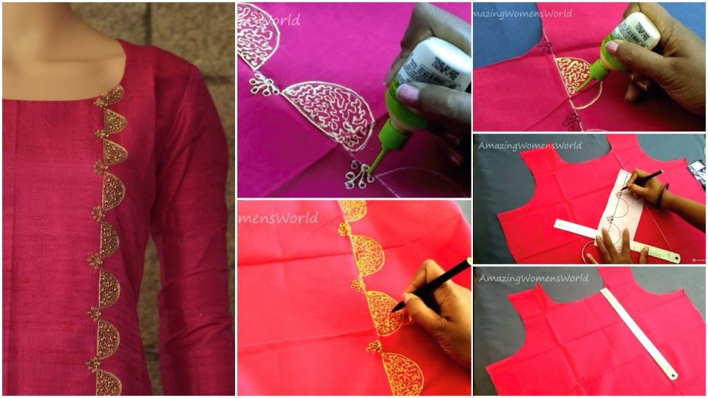 Liquid embroidery with beads design on kurti