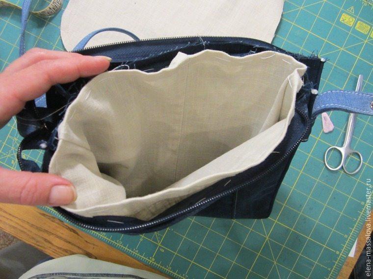 denim bag with a valve