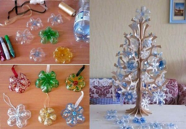 Get inspired with Christmas ornaments with pet bottle, Christmas tree with recycled material and other cute little things. Enjoy everything!