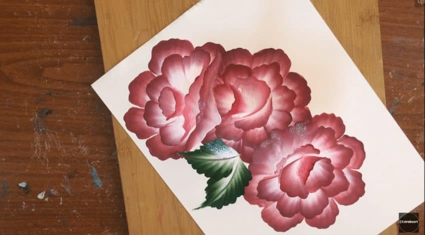 beautiful dotted flowers from one stroke painting   simple