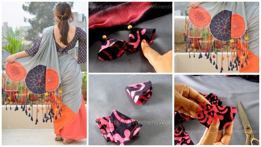 How to design saree edging with beaded tassels