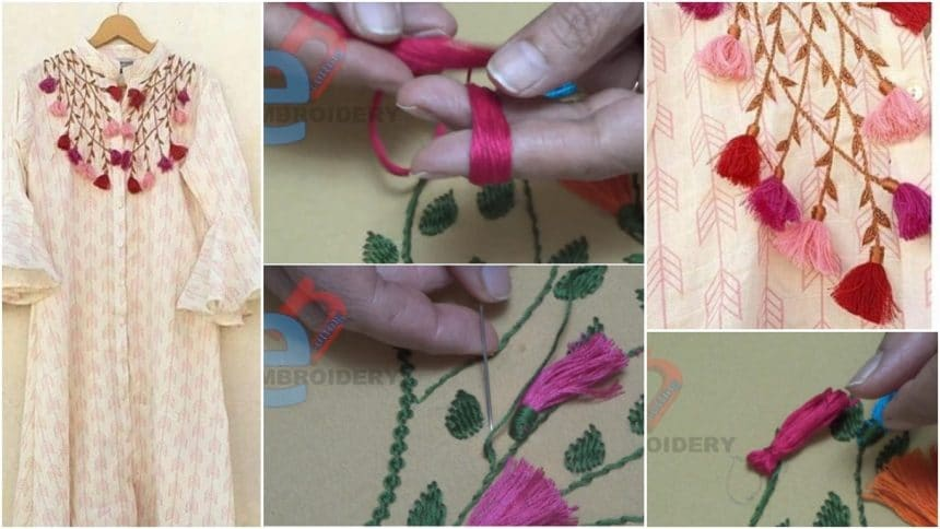 Striking bold neckline embroidery for kurtis