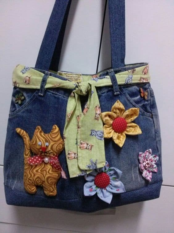 how to make bag from old jeans