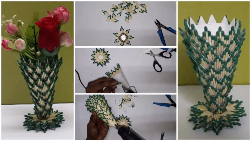 How to make flower vase from matchstick | Simple Craft Ideas Flower Vase Making Images on making sculpture, making flower art, making pottery, making glass, making flower boxes, making flower pillow, making flower bed, making flower candles, making baskets, making pot,