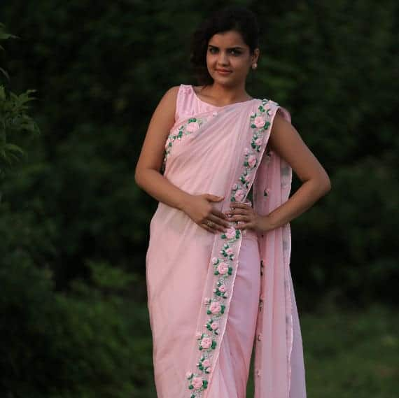 Pure Silk Chiffon And Net Embroidered Saree Simple Craft