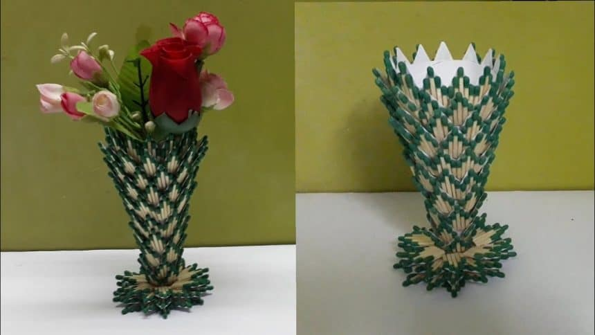 How To Make Flower Vase From Matchstick Simple Craft Ideas