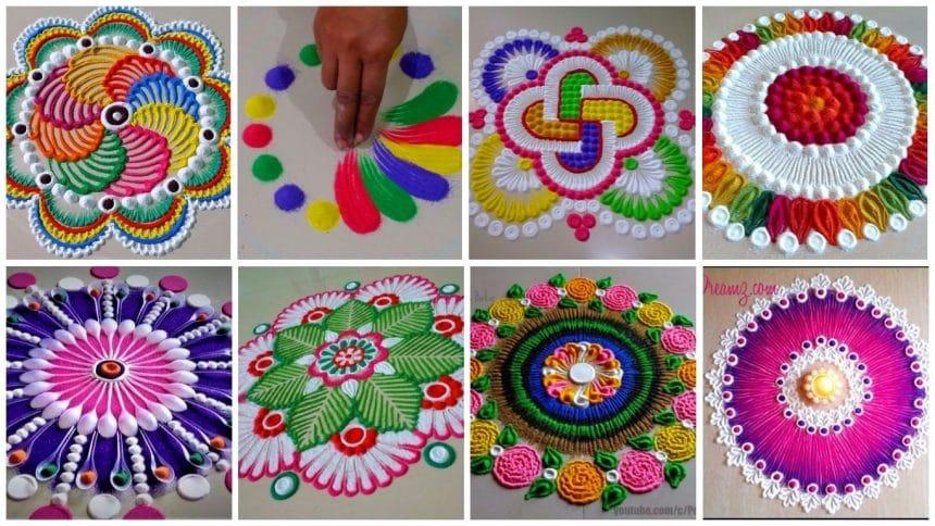 How to make beautiful innovative multi colour rangoli