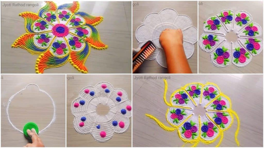 How to make beautiful easy simple rangoli