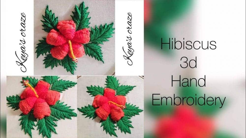 Hibiscus flower hand embroidery