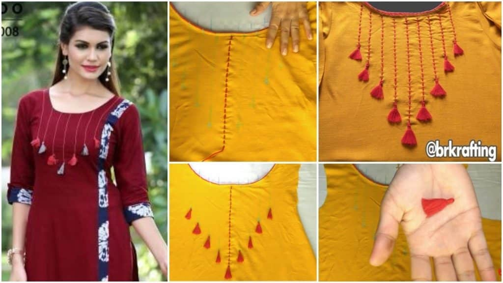 How to make kurti neck cutting stitching and embroideries designs