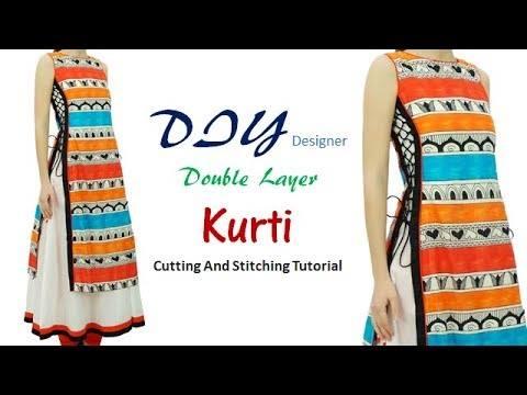 Designer double layer kurti cutting and stitching
