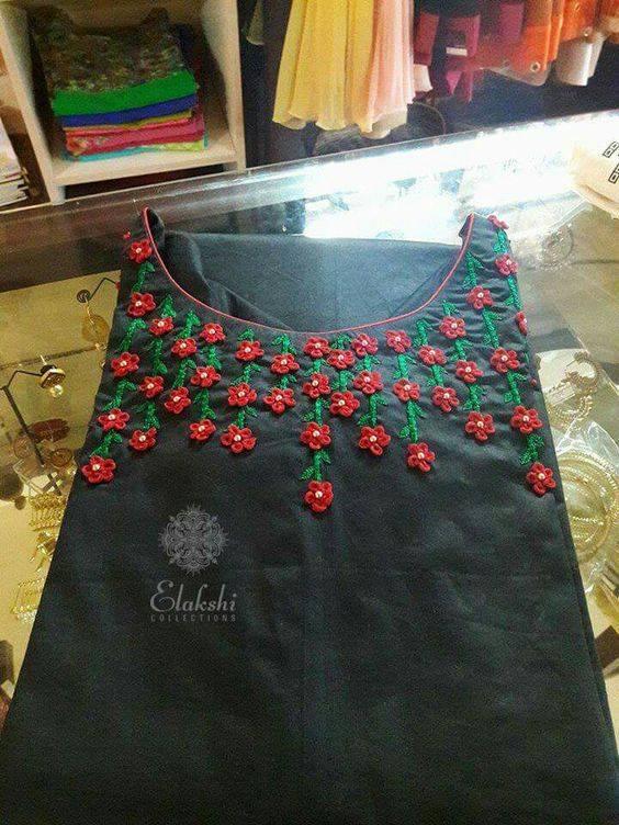 Beads french knots aari designing for Kurti, Kameez