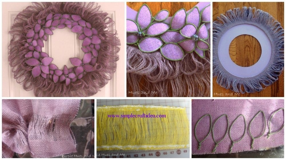Burlap fringed and bendable flowered wreath