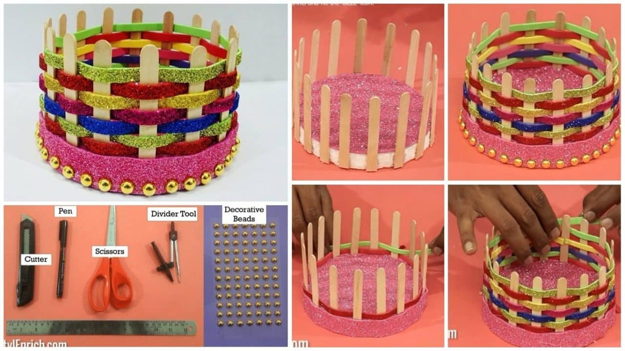 How to make a basket from pop stick