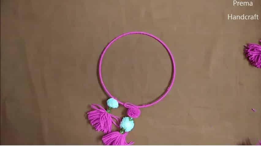How To Make Wind Chime Using Pom Pom Woolen Jhumar