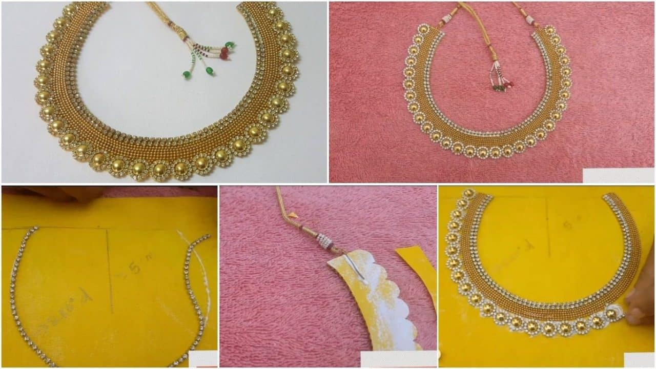 How to make party wear necklace from cardboard