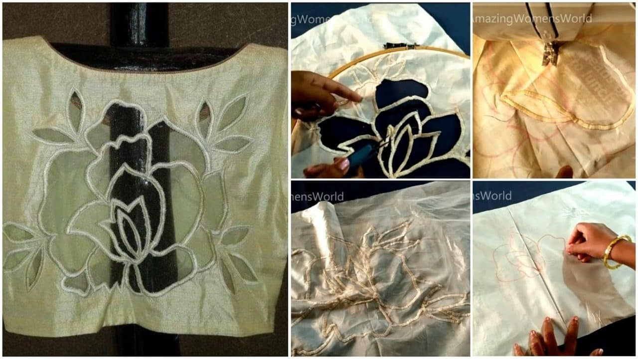 How to do rose cut work for blouse