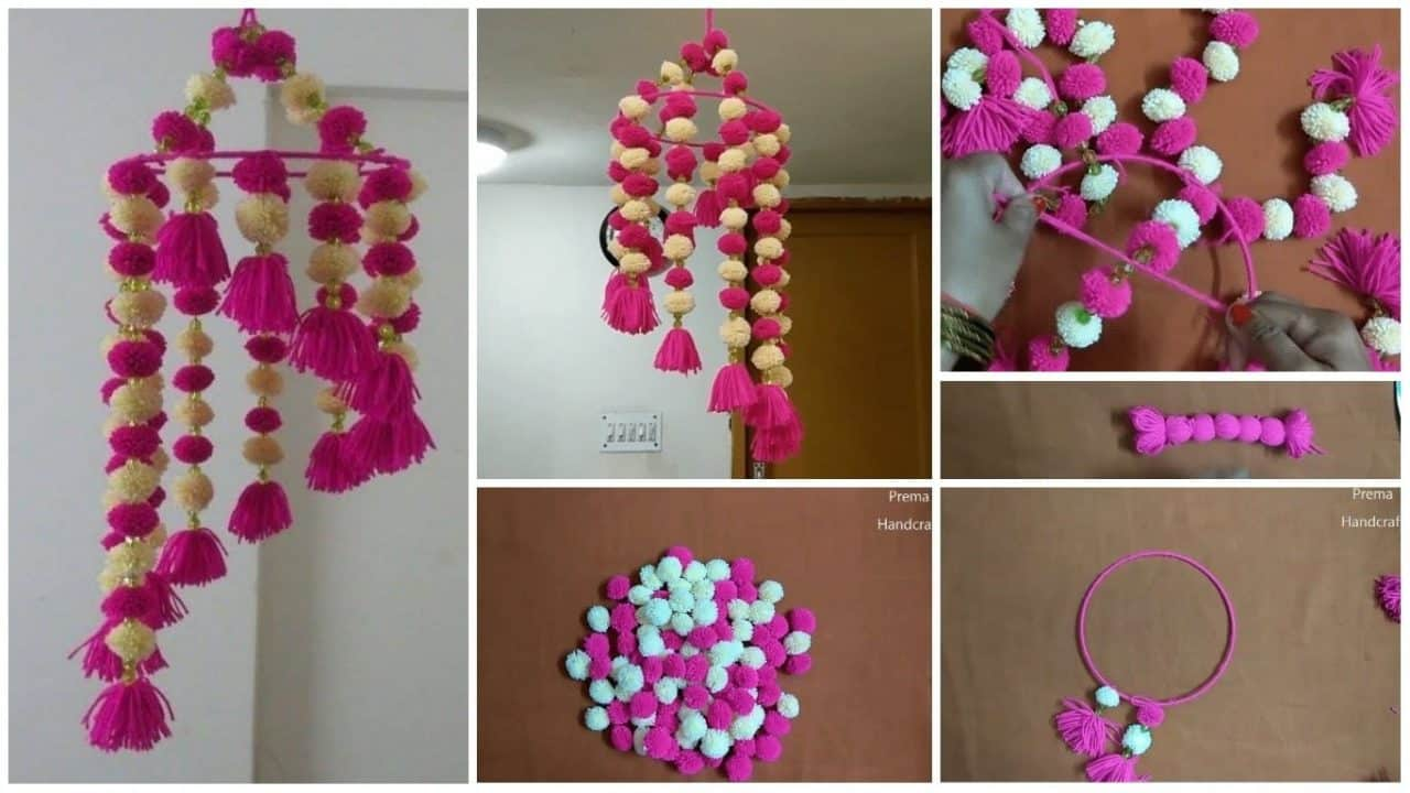 How to make wind chime using pom-pom
