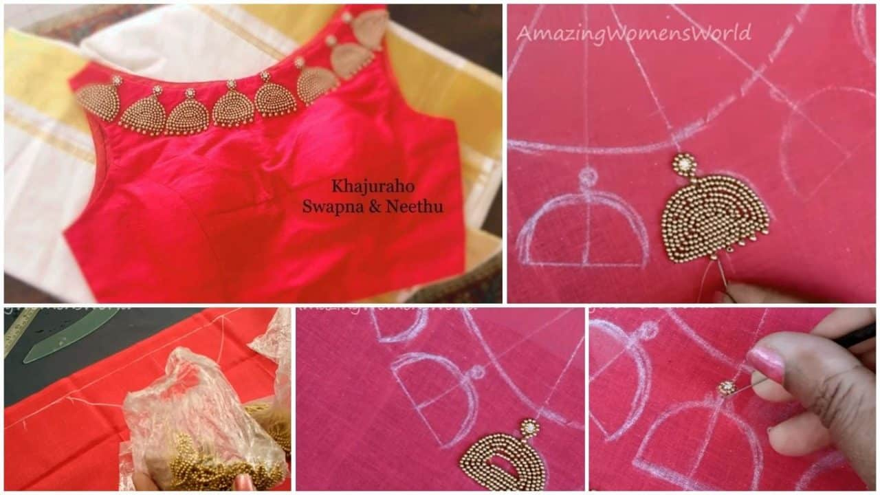Maggam hand embroidery jhumka design boat neck for blouse