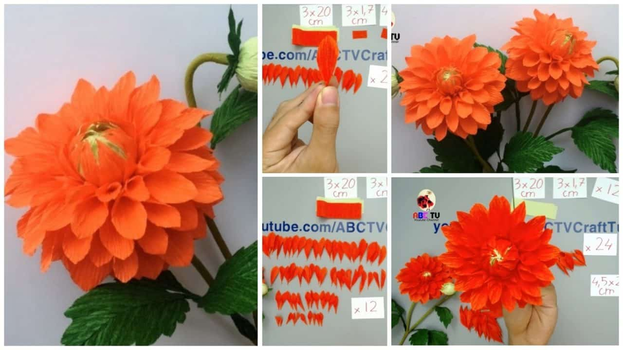 How To Make Dahlia Paper Flower From Crepe Paper Simple Craft Ideas