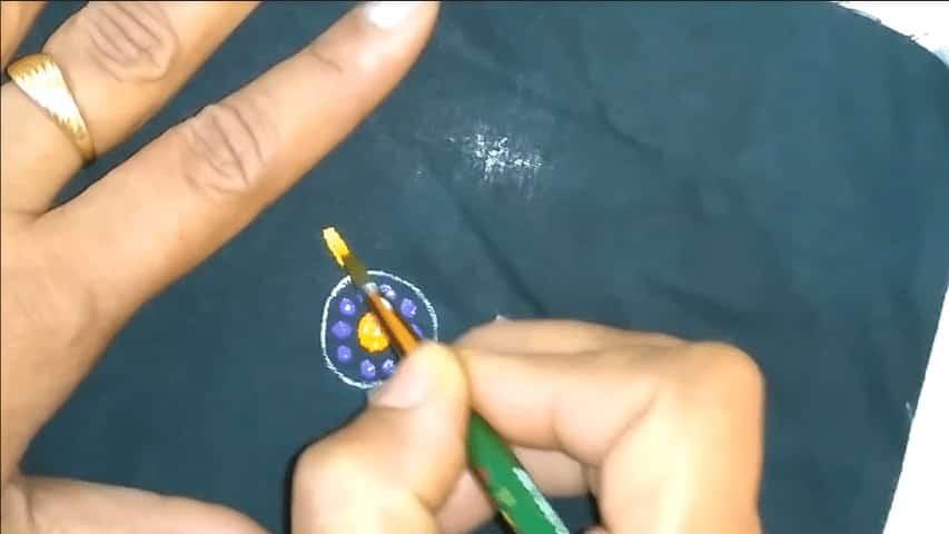 Freehand painting on black kurta