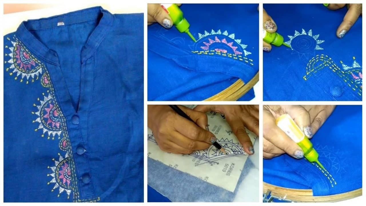 Liquid embroidery for kurthi neck