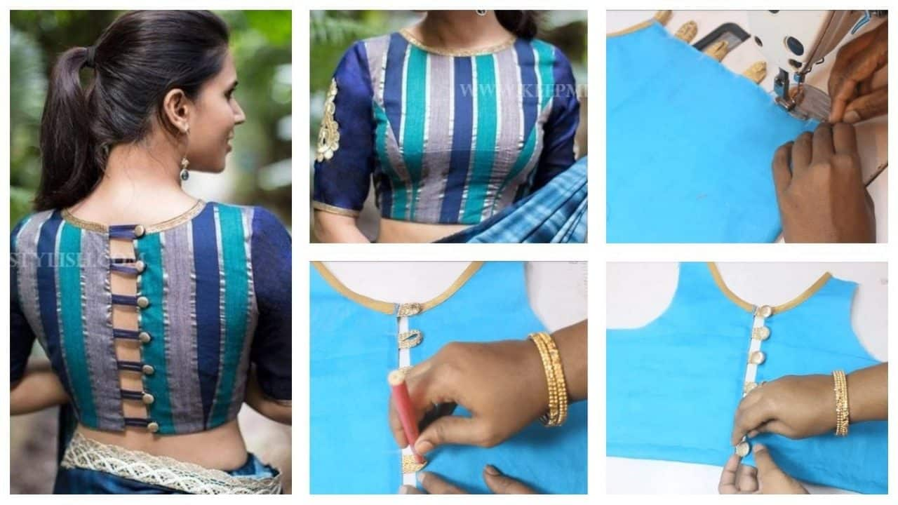 How to sew a party wear blouse with button and loops
