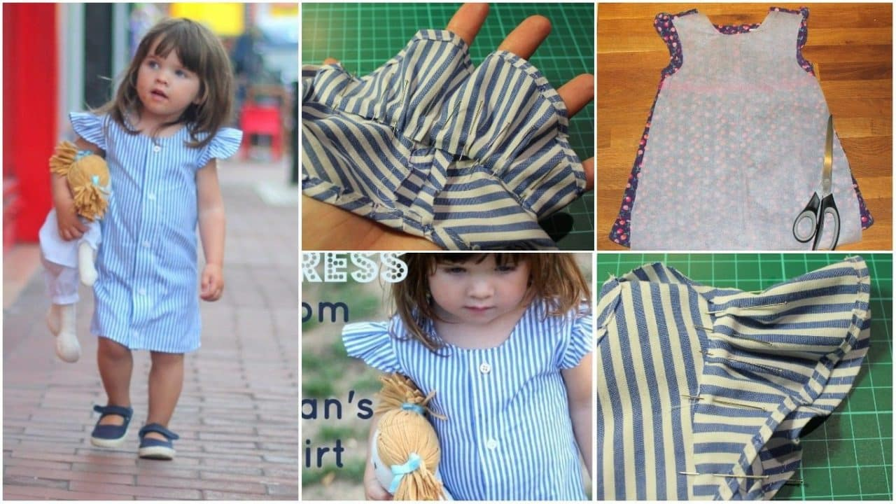 Make a little girl's dress from a man's shirt